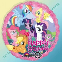 300089 ШАР-ФОЛЬГА С ГЕЛИЕМ 45 СМ КРУГ -  HAPPY BIRTHDAY!  MY LITTLE PONY