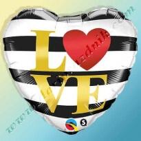 300186 ШАР-ФОЛЬГА С ГЕЛИЕМ 45 СМ - LOVE YOU ПОЛОСКИ ЧЕРНО-БЕЛЫЕ