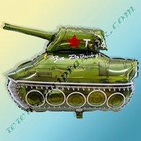 300597 ШАР-ФОЛЬГА С ГЕЛИЕМ ФИГУРНЫЙ 80 Х 75 СМ - ТАНК Т-34 ЗА РОДИНУ - FLEXMETAL (ИСПАНИЯ)