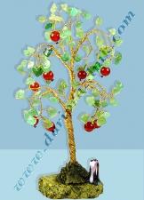 100060 ДЕРЕВО ИЗ САМОЦВЕТОВ МАЛОЕ - ЯБЛОНЬКА С ЯБЛОЧКАМИ - СЕРДОЛИК АВАНТЮРИН - 15 СМ 122 КАМНЕЙ
