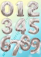 400002  ШАР-ФОЛЬГА ЦИФРА 86СМ - СЕРЕБРО - ANAGRAM (США)