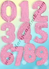 400014 ШАР-ФОЛЬГА ЦИФРА 105 СМ - РОЗОВЫЕ С СЕРЕБРЯНЫМИ ЗВЕЗДАМИ - CTI (США)